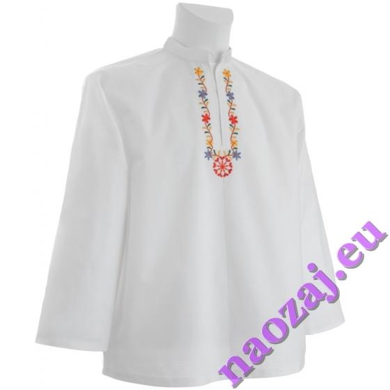 Ľudová vyšívaná košeľa s kvetinovým motívom